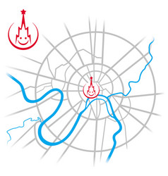 Map of downtown moscow with kremlin smiling vector