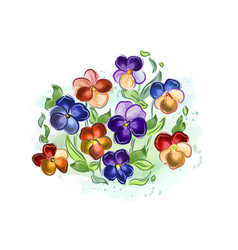 Watercolor flowers violets and pansy and leaves vector