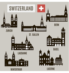 Cities in switzerland vector