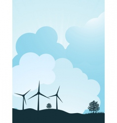 Wind turbine landscape vector