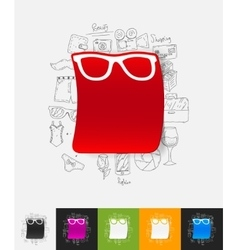 Glasses paper sticker with hand drawn elements vector