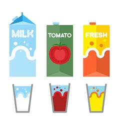Set drinks in package milk tomato juice and fresh vector