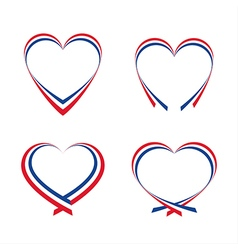Abstract hearts with the colors of the french flag vector