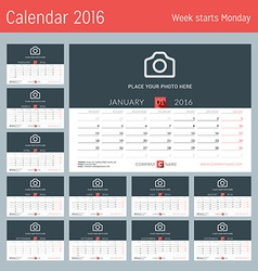 Desk Calendar for 2016 Year Design Print Template vector image