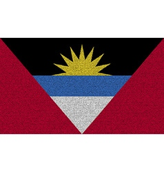 Flags of antigua and barbuda on denim texture vector