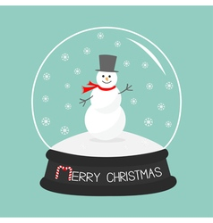 Cartoon snowman on snowdrift crystal ball with vector