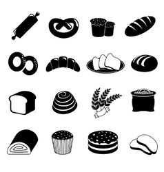 Bakery and bread icons set vector