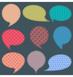 Set of textile speech bubbles vector