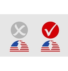 Usa flag textured person icon with vote mark vector