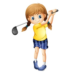 A sporty girl playing golf vector image