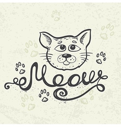 Background with cat muzzle vector