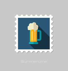 Beer mug stamp summer vacation vector