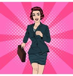 Business woman pop art banner successful woman vector