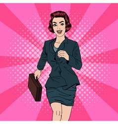 Business Woman Pop Art Banner Successful Woman vector image