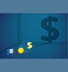businessman uses spotlight to flash the dollar vector image