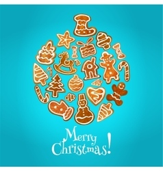 Christmas bauble ball made up of sweet gingerbread vector image vector image