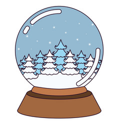 christmas crystal ball with winter forest on vector image vector image