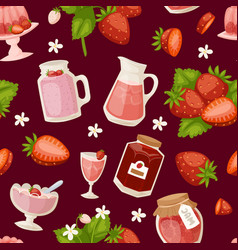 confectionery desserts strawberry pink icon set vector image vector image