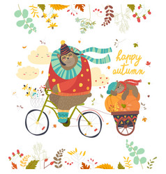 Cute bear riding a bicycle with sleeping cub vector
