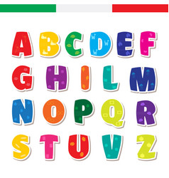cute funny childish italian alphabet font vector image