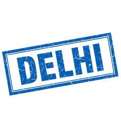 Delhi blue square grunge stamp on white vector