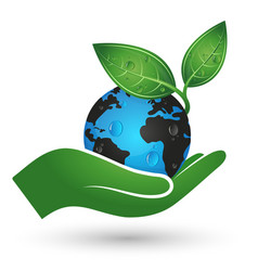 earth in hand symbol of ecology vector image vector image