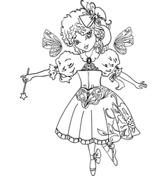 Fairy Cartoon Outline drawing vector image