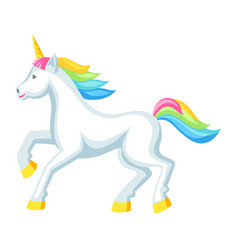 Fantasy pretty white unicorn with colorful mane vector