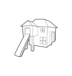 Forest house icon outline style vector image