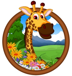 giraffe cartoon in frame vector image vector image