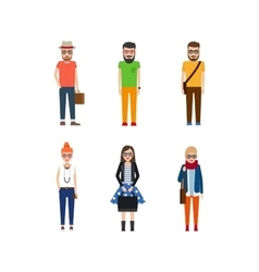 Hipster girls and boys cartoon icons vector image vector image