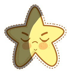 Kawaii angry star with close eyes vector