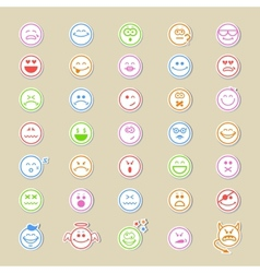 Large collection of round smiley icons vector image vector image