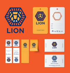 Lion logo kids wear emblem identity vector