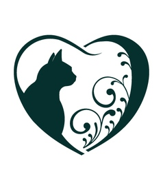 Love cat heart logo vector image vector image