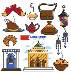 Morocco tourism travel famous symbols and tourist vector