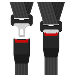 Open and closed safety belt vector