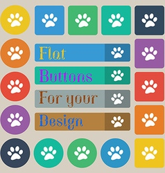 Paw icon sign set of twenty colored flat round vector