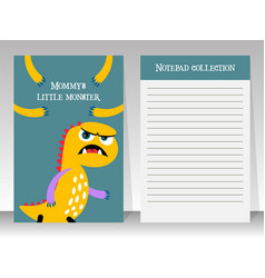 planner template with yellow cartoon monster vector image