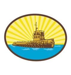 River tugboat oval woodcut vector