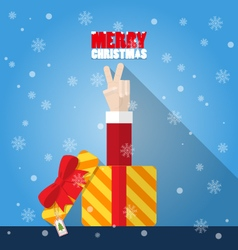 Santa claus hand victory sign from gift box vector
