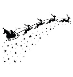 Santa claus on sleigh flying sky with deers black vector