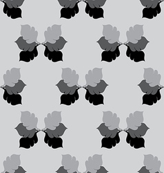 Seamless floral grayscale pattern with oak leaves vector
