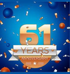 sixty one years anniversary celebration design vector image vector image