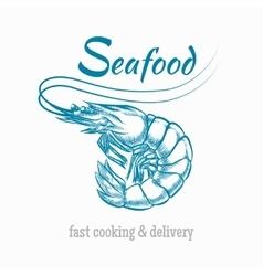 Sketch shrimp seafood logo vector