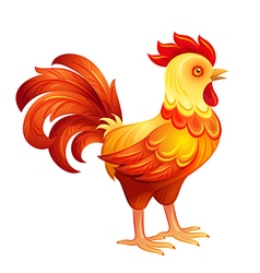 Stylized rooster in fiery colors eps10 vector