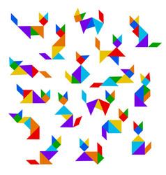 Tangram cats set vector