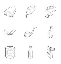 Tobacco icons set outline style vector
