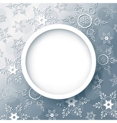 Winter abstract background grey with snowflakes vector image vector image