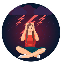 woman and bolts representing depression on vector image